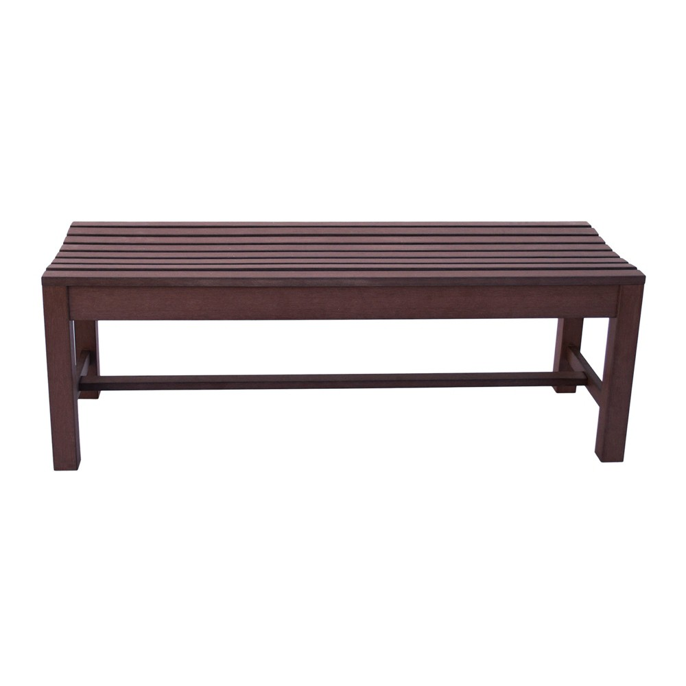 4' Outdoor Backless Plastic Bench Brown - Shine Company Inc.