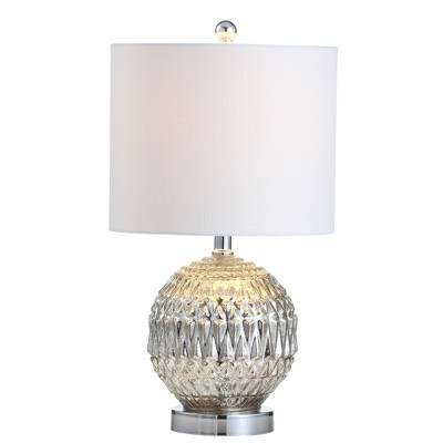 "20.5"" Glass/Metal Krister Table Lamp (Includes LED Light Bulb) Silver - JONATHAN Y"