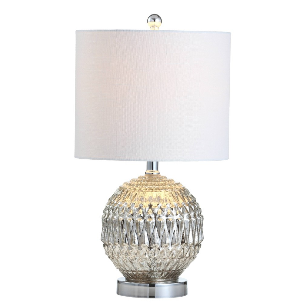 "Image of ""20.5"""" Krister Glass/Metal LED Table Lamp Silver (Includes Energy Efficient Light Bulb) - JONATHAN Y"""