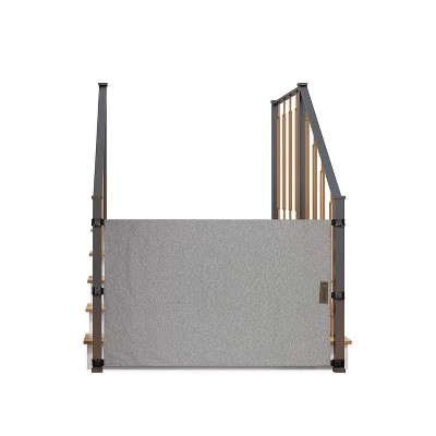 THE STAIR BARRIER 36 to 42 Inch Banister to Banister Portable Fabric Baby Kids Pet Safety Gate for Children, Dogs, and Cats, Burlap Gray