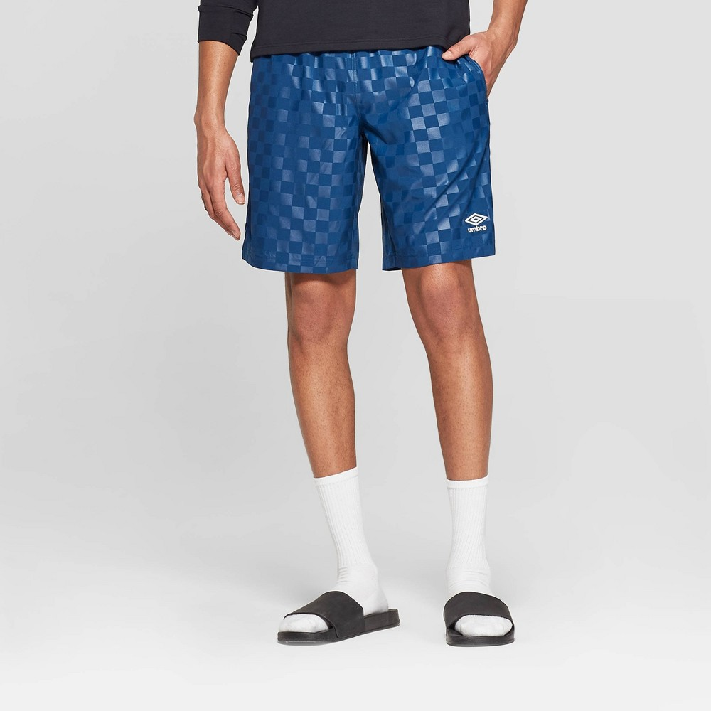 Umbro Men's Checkerboard Shorts - Poseidon Blue L