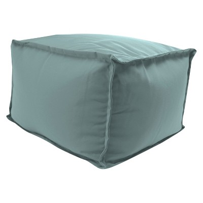 Outdoor Bean Filled Pouf/Ottoman In Sunbrella Cast Mist   Jordan  Manufacturing