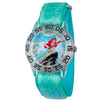 Girls' Disney Princess Ariel Clear Plastic Time Teacher Watch - Green