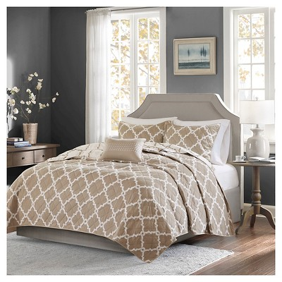 Taupe Becker Geometric Quilt Set (King/California King)- 4 Piece