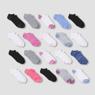 Hanes Girls' 20pk No Show Athletic Socks - Colors May Vary S