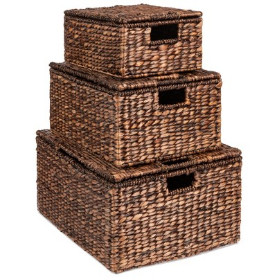 """Best Choice Products Set of 3 Large Multipurpose Hyacinth Storage Baskets w/ Insert Handles, Lid - 21"""", 20"""", 18"""""""