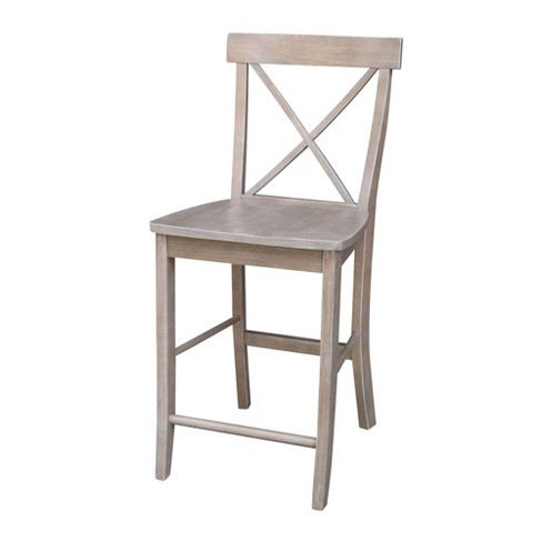 Astounding X Back Counter Height Stool Washed Gray Taupe International Concepts Cjindustries Chair Design For Home Cjindustriesco