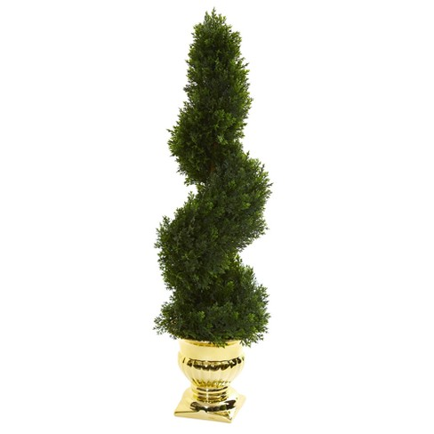 """27"""" Cedar Spiral Artificial Topiary Tree In Gold Urn - Nearly Natural - image 1 of 3"""