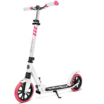 SereneLife SLTS35 Foldable Kick Scooter with 2 Large Wheels for Adults and Kids with Adjustable Grip Handlebars and Anti Slip Rubber Deck, Pink