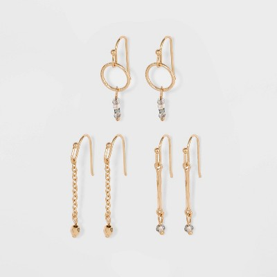 Steel Stud Earring Set 3pc - A New Day™ Gold