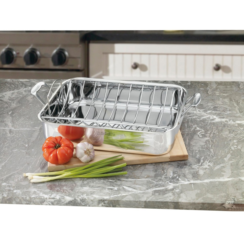 Image of Cuisinart Chef's Classic Stainless Steel 16inch Roasting Pan - 7117-16UR