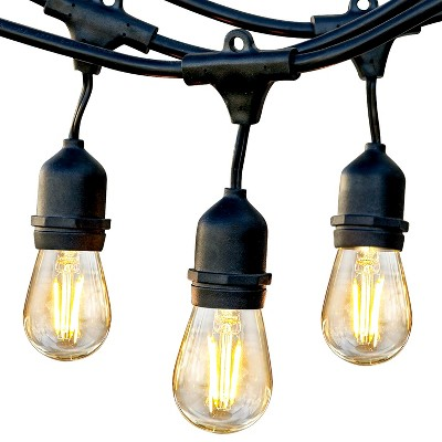 Brightech BP-99T1-7IU0 Weatherproof 1 Watt LED Outdoor 24 Feet Hanging Edison Vintage Italian Cafe Bistro Patio Back Yard String Lights w/ 7 Bulbs