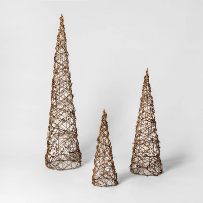 3ct Christmas LED Cone Trees Brown Rattan Battery Operated Novelty Sculpture Lights Warm White - Wondershop™