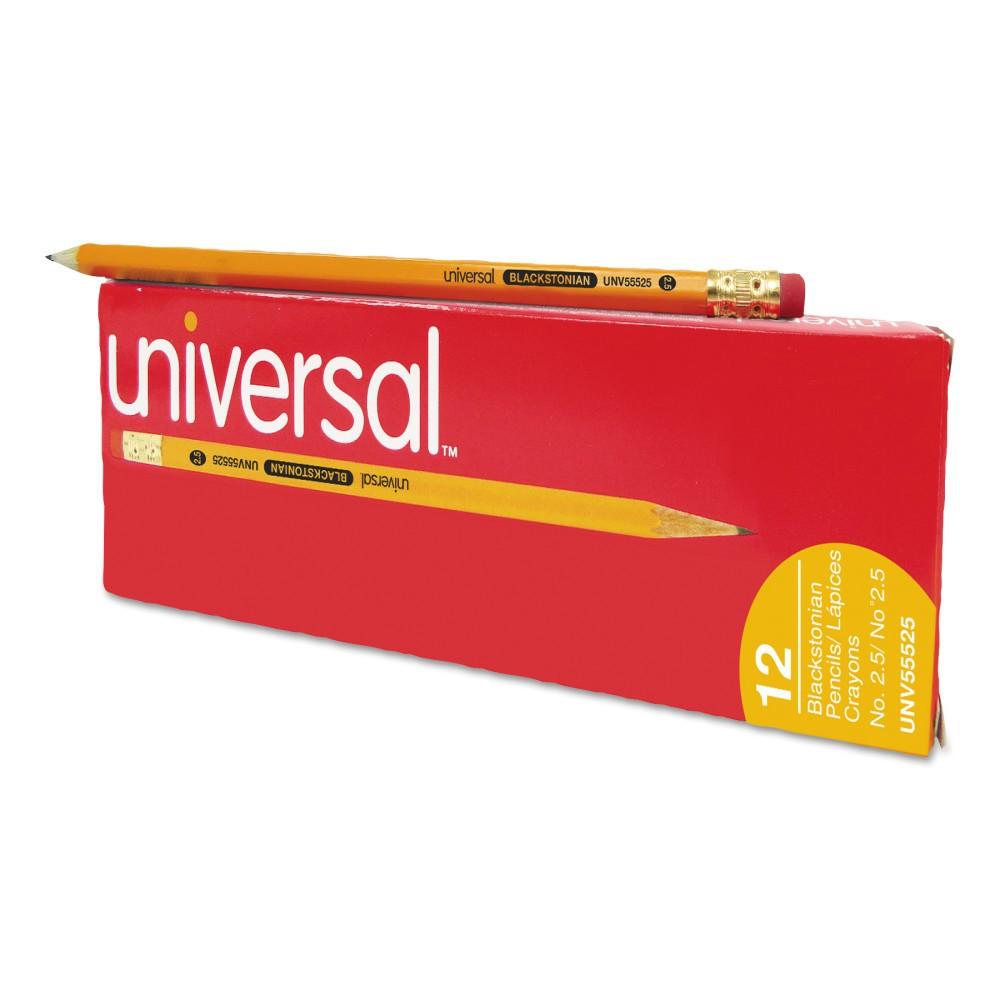 Universal Blackstonian Pencil, F #2.5, Medium Firm, Yellow, Dozen (55525)