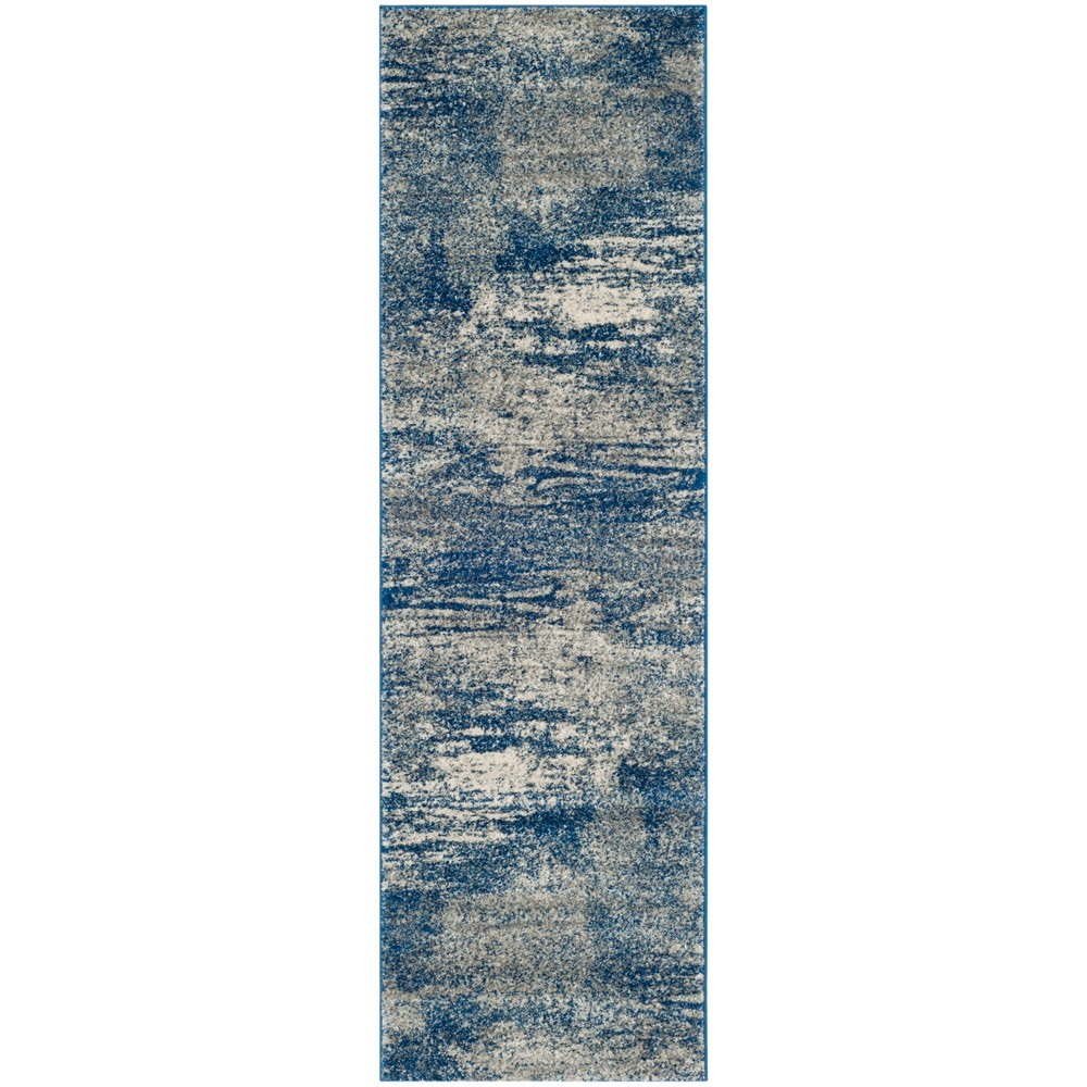 Loomed Spacedye Design Runner Rug Navy