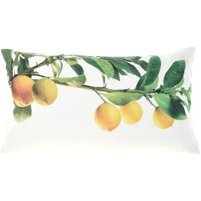 "12""x22"" Oversize Reversible Indoor/Outdoor Lemon Branch and Dots Lumbar Throw Pillow Yellow - Mina Victory"