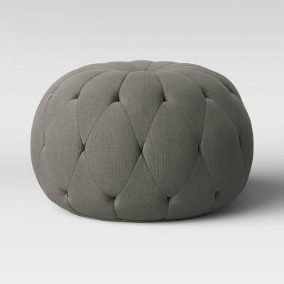 Annandale Round Tufted Pouf Dark Gray - Threshold™