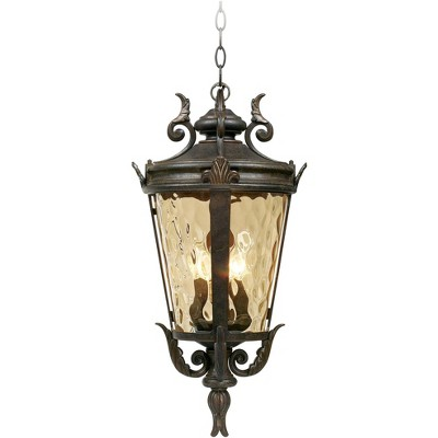 """John Timberland Mediterranean Outdoor Ceiling Light Hanging Bronze Scroll 23 3/4"""" Champagne Hammered Glass Damp Rated for Patio"""