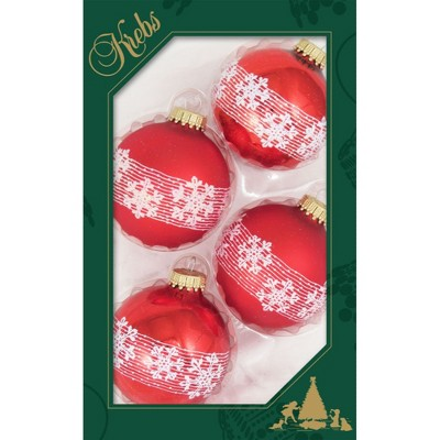 """Christmas by Krebs 4ct Red and White Snowflake 2-Finish Christmas Ball Ornaments 2.5"""" (67mm)"""