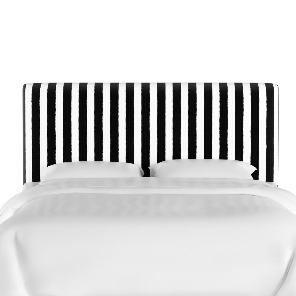 California King Olivia Upholstered Headboard Black/White Stripe - Cloth & Co.