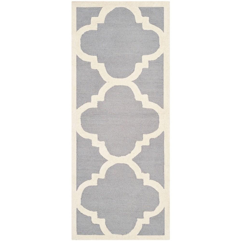 Landon Texture Wool Rug - Silver / Ivory (2'6 X 18') - Safavieh, Silver/Ivory
