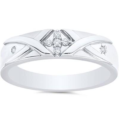 Pompeii3 Mens Diamond Cross Ring 14K White Gold