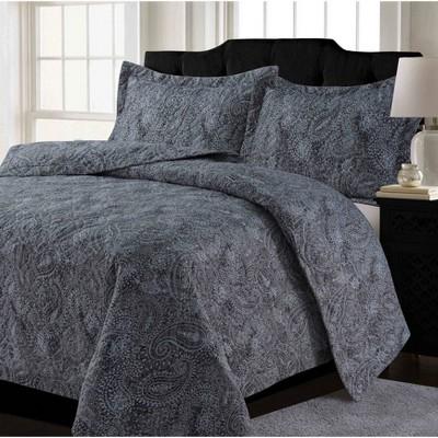 King 3pc Lyon Paisley Oversized Quilt Set Gray/Multi - Tribeca Living