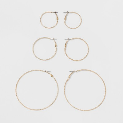 Hoops Earring Set - A New Day™ Gold