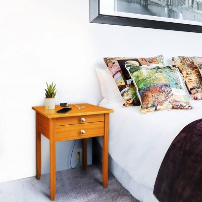 Solid Wood Nightstand with USB Port Honey Oak - Flora Home