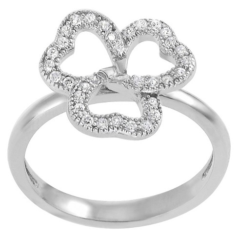 Cubic Zirconia Clover Ring in Sterling Silver - image 1 of 3