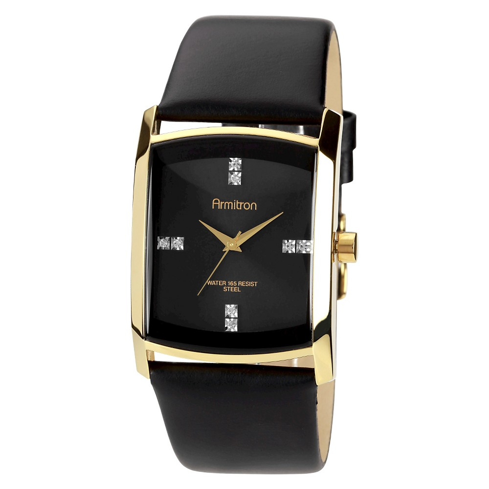 Image of Armitron Men's Dress Wristwatch Leather - Black, Size: Small
