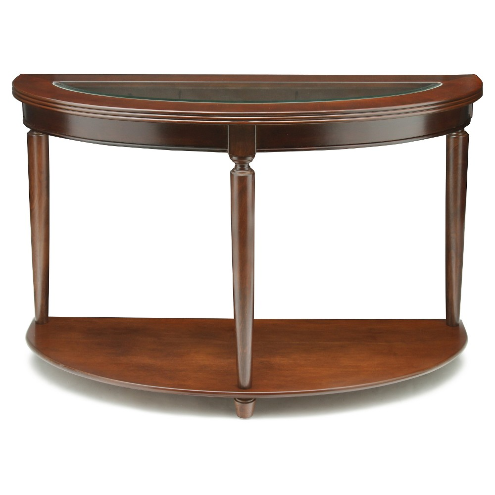 Sun & Pine Renson Curved Glass Top Sofa Table Dark Cherry, Redwood Brown