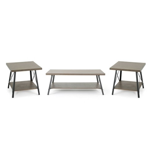 3pc Camaran Industrial Table Set Gray - Christopher Knight Home - image 1 of 5
