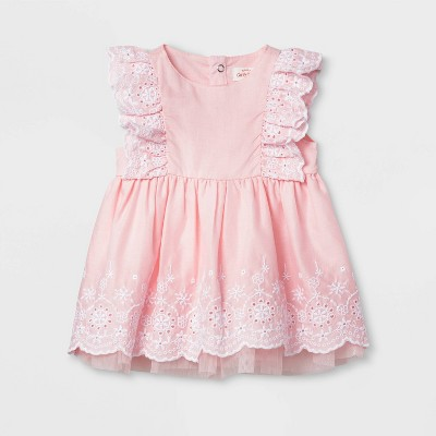 Baby Girls' Eyelet Dress - Cat & Jack™ Pink 0-3M