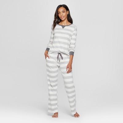 Women's Striped Pajama Set - Gray M