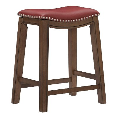 Homelegance 24-Inch Counter Height Wooden Bar Stool with Solid Wood Legs and Faux Leather Saddle Seat Kitchen Barstool Dinning Chair, Brown and Red