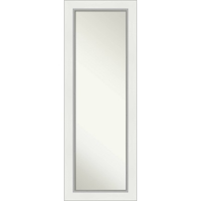 "19"" x 53"" Eva White Silver Framed On the Door Mirror - Amanti Art"