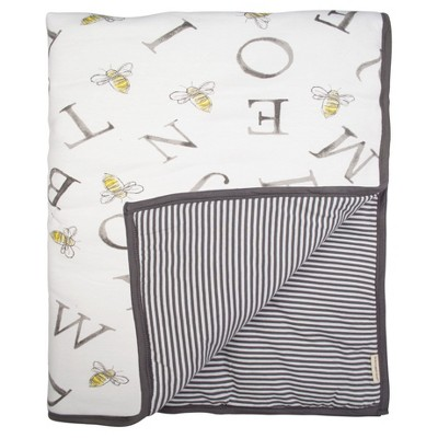 Burt's Bees Baby® Organic Reversible Quilt - A-Bee-C - Charcoal Gray