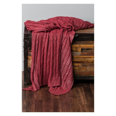 "50""x60"" Solid Throw Blanket Red - Rizzy Home"