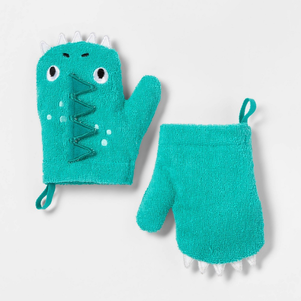 Image of 2pc Dragon Bath Mitts Green - Pillowfort