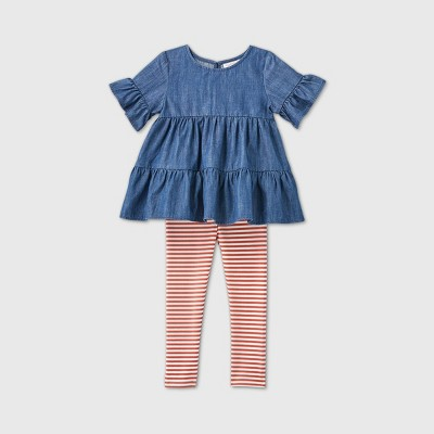 Toddler Girls' Short Sleeve Chambray Striped Top and Leggings Set - Cat & Jack™ Blue/Orange 3T