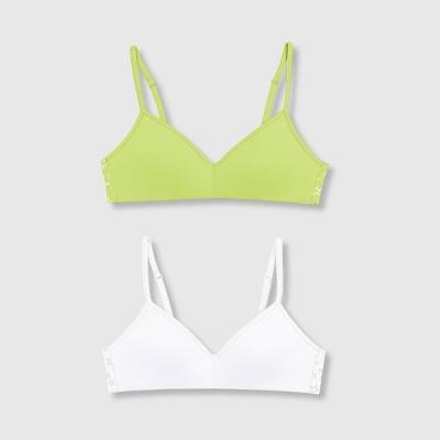 Hanes Girls' 2pk Wide Back Banded Bra - Green/White S
