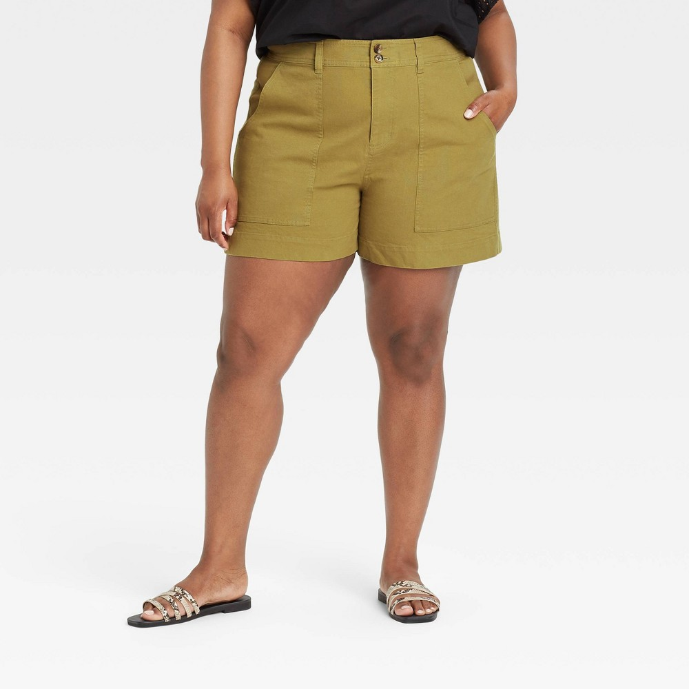 Women 39 S Plus Size High Rise Shorts A New Day 8482 Olive Green 24w
