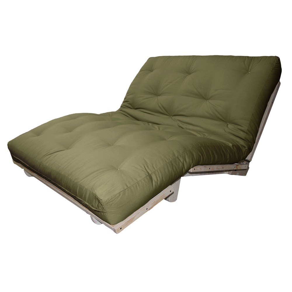 8 Cotton Filled Sit, Lounge or Sleep Futon Sofa Sleeper Bed Suede Fabric Olive Green - Epic Furnishings