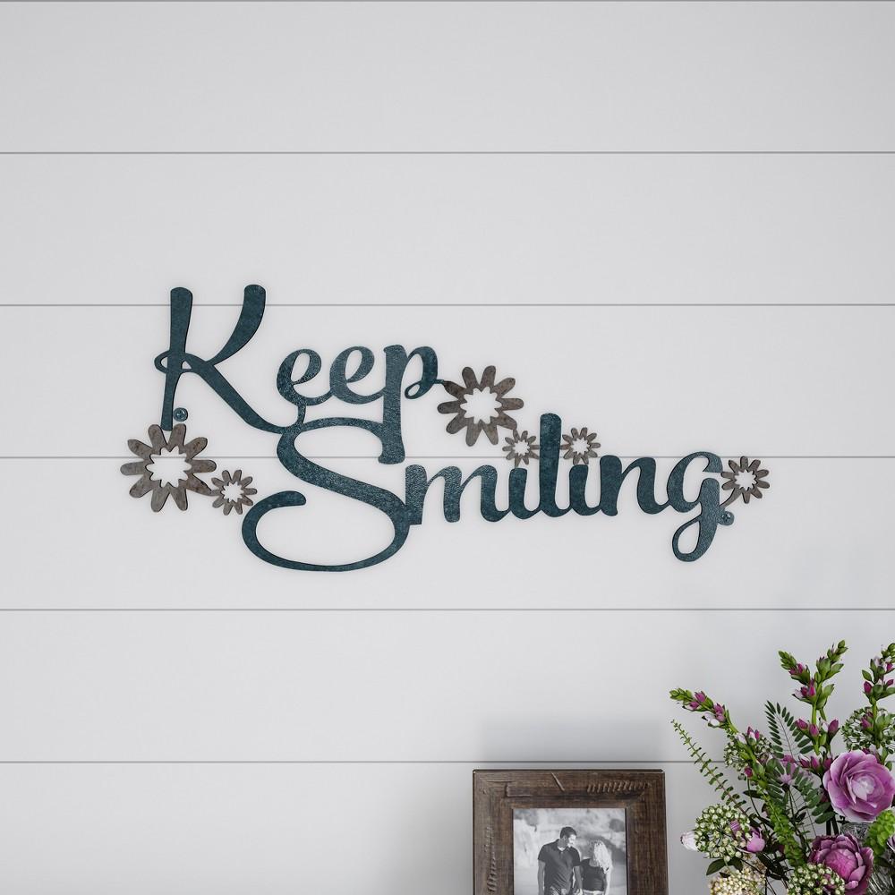 "Image of """"""Keep Smiling"""" Decorative Wall Metal Cutout Sign Teal Nights - Lavish Home"""