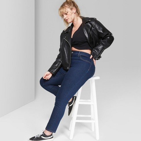 Women's Plus Size High-Rise Skinny Jeans - Wild Fable™ Blue Marker - image 1 of 3