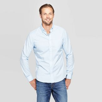 Men's Performance Slim Fit Long Sleeve Button-Down Shirt - Goodfellow & Co™ Bayshore Blue L
