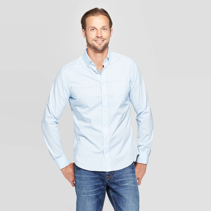 Men's Performance Slim Fit Long Sleeve Button-Down Shirt - Goodfellow & Co™ - image 1 of 3