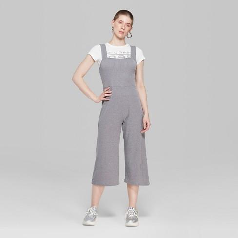 ad6bae85b9b1 Women s Strappy Square Neck Rib Knit Jumpsuit - Wild Fable™ Gray XS ...