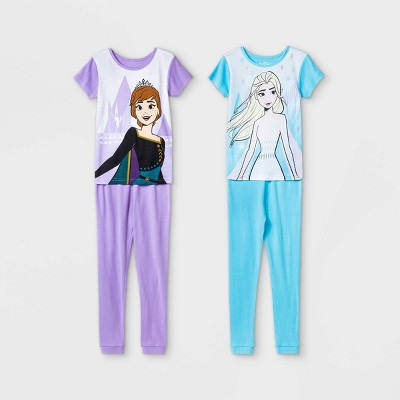 Girls' Frozen 4pc Pajama Set - Blue/Purple
